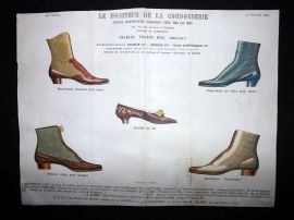 Le Moniteur de la Cordonnerie 1891 Rare Hand Colored Shoe Design Print 48